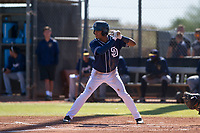 San Diego Padres outfielder Jeisson Rosario (53) at bat during an Instructional League game against the Milwaukee Brewers on September 27, 2017 at Peoria Sports Complex in Peoria, Arizona. (Zachary Lucy/Four Seam Images)