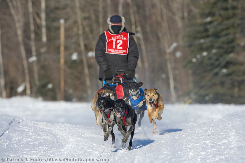 Musher Vince Heintzelman, 2007 Limited North American Championship Sled dog race in Fairbanks, Alaska.