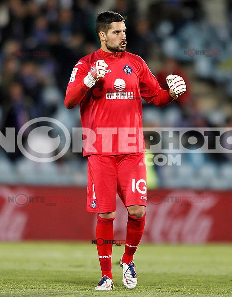 Getafe's Miguel Angel Moya celebrates goal during La Liga match.November 18,2012. (ALTERPHOTOS/Acero) NortePhoto