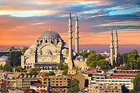 The Suleymaniye Mosque (Süleymaniye Camii, 1550-1558)  on the Third Hill, Istanbul Turkey.