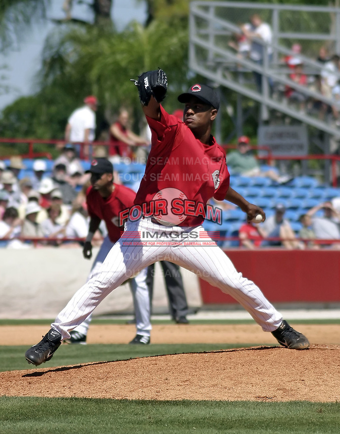 March 31, 2004:  Pitcher Jesus Sanchez of the Cincinnati Reds organization during Spring Training at Ed Smith Stadium in Sarasota, FL.  Photo copyright Mike Janes/Four Seam Images