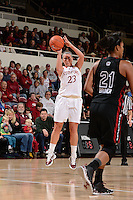 STANFORD, CA - NOVEMBER 26: Jeanette Pohlen of Stanford women's basketball puts up a 3-pointer in a game against South Carolina on November 26, 2010 at Maples Pavilion in Stanford, California.  Stanford topped South Carolina, 70-32.