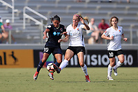 Cary, North Carolina  - Saturday July 01, 2017: Debinha and Nikki Stanton during a regular season National Women's Soccer League (NWSL) match between the North Carolina Courage and the Sky Blue FC at Sahlen's Stadium at WakeMed Soccer Park. Sky Blue FC won the game 1-0.