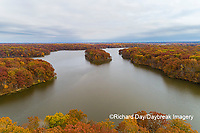 63895-16613 Aerial view Stephen A. Forbes State Park Lake in fall Marion Co. IL