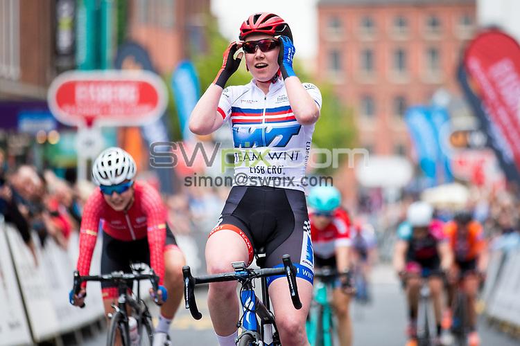 Picture by Alex Whitehead/SWpix.com - 11/05/2017 - Cycling - Tour Series Round 2, Stoke-on-Trent - Matrix Fitness Grand Prix Series - WNT's Katie Archibald celebrates the win.