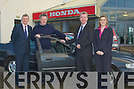 IMMACULATE: Harry Kelliher of (Kellihers Elictric) being congratulated at McElligotts Honda Oakpark, Tralee on Tuesday by John Donohoe (aftersales director Unviersal Honda) alson inpic was Pat MccElligott (McElligott Car Sales) and Aisling Carroll..