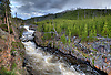 THE FIREHOLE RIVER IN EARLY EVENING RUSHES THROUGH THE FIREHOLE RIVER CANYON IN YELLOWSTONE NATIONAL PARK,WYOMING