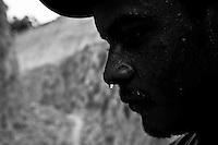 Gold seeker portrait at Agua Branca gold mining village, Amazon rain forest, Para State, Brazil.