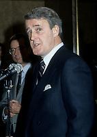 FILE PHOTO - Brian Mulroney and Robert Bourassa, adress the medias, circa 1985<br /> <br /> <br /> PHOTO :   Agence quebec Presse