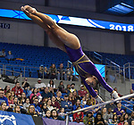 The SEC National Gymnastic Championship was held on Saturday March 24 at Chaifetz Arena on the Saint Louis University campus. Sarah Finnegan competes on the uneven bars.<br />
