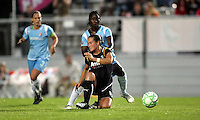 Sky Blue defender Anita Asante (5) gets the ball past LA's Brittany Bock (11).   Sky Blue played to a 0-0 tie against the LA Sol Saturday, June 13, in Piscataway, NJ.