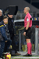 Referee Michele Fabbri checks the VAR during the Serie A 2018/2019 football match between Frosinone and Lazio at stadio Benito Stirpe, Frosinone, February 4, 2019 <br />  Foto Andrea Staccioli / Insidefoto