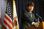 Illinois Governor Rod Blagojevich tells the media that he will not resign and will fight federal corruption charges against him at a press conference at the Thompson Center in Chicago, Illinois on December 19, 2008.