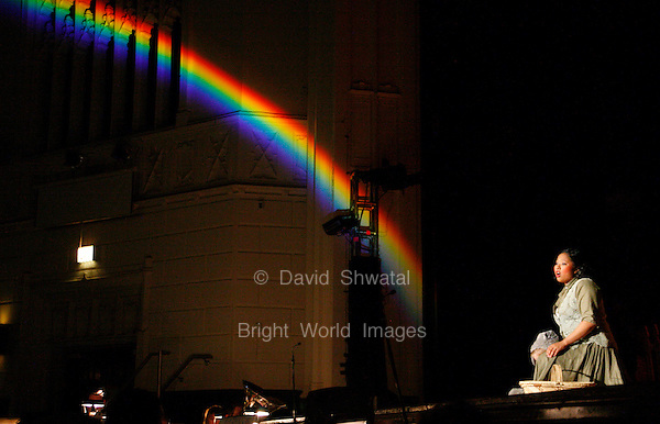 Young performer as Dorothy with a Rainbow in the Wizard of Oz. David Shwatal performing arts photographer Tinley Park, Chicago, IL, 60477