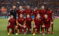 Calcio, Champions League, Gruppo E: Roma vs CSKA Mosca. Roma, stadio Olimpico, 17 settembre 2014.<br /> Roma players pose prior to the start of the Group E Champions League football match between AS Roma and CSKA Moskva at Rome's Olympic stadium, 17 September 2014. Front row, from left, Juan Iturbe , Francesco Totti, Miralem Pjanic, Radja Nainggolan and Vasileios Torosidis . Back row, from left, Morgan De Sanctis, Kostas Manolas, Maicon, Seydou Keita, Davide Astori and Gervinho.<br /> UPDATE IMAGES PRESS/Isabella Bonotto