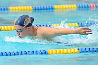 14 January 2012:  FIU's Alice Horton competes in the 200 yard butterfly as the FIU Golden Panthers won the meet with the Central Connecticut State University Blue Devils at the Biscayne Bay Campus Aquatics Center in Miami, Florida.