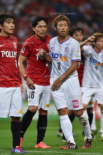 (L-R) Yosuke Kashiwagi, Ryota Moriwaki (Reds), Kazuyuki Morisaki (Sanfrecce),<br /> AUGUST 16, 2014 - Football / Soccer :<br /> 2014 J.League Division 1 match between Urawa Red Diamonds 1-0 Sanfrecce Hiroshima at Saitama Stadium 2002 in Saitama, Japan. (Photo by AFLO)