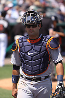Detroit Tigers catcher Alex Avila (13) walking towards the dugout during a spring training game against the Miami Marlins at the Roger Dean Complex in Jupiter, Florida on March 25, 2013. Detroit defeated Miami 6-3. (Stacy Jo Grant/Four Seam Images)........