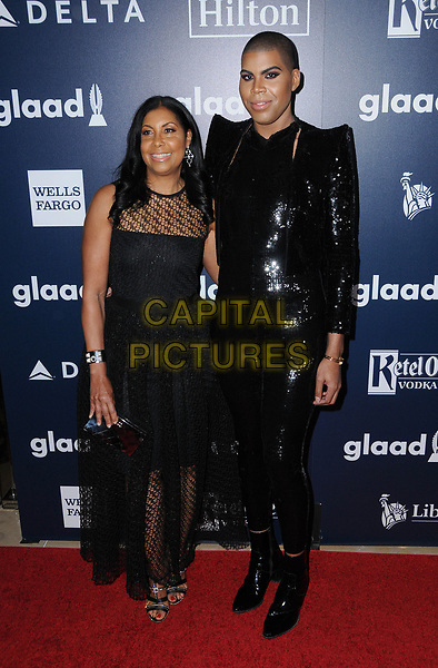 01 April 2017 - Beverly Hills, California - Cookie Jonson, E.J. Johnson.  28th Annual GLAAD Media Awards held at The Beverly Hilton Hotel in Beverly Hills.  <br /> CAP/ADM/BT<br /> &copy;BT/ADM/Capital Pictures