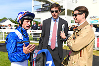 Jockey Dane O'Neill with connections of Tamreer in the winners enclosure after winning The Smith & Williamson Fillies' Novice Stakes (Class 5))  during Afternoon Racing at Salisbury Racecourse on 17th May 2018