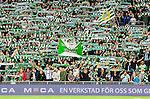Stockholm 2015-07-13 Fotboll Allsvenskan Hammarby IF - Falkenbergs FF :  <br /> Hammarbys supportrar med halsdukar och flaggor inf&ouml;r matchen mellan Hammarby IF och Falkenbergs FF <br /> (Foto: Kenta J&ouml;nsson) Nyckelord:  Fotboll Allsvenskan Tele2 Arena Hammarby HIF Bajen Falkenberg FFF supporter fans publik supporters