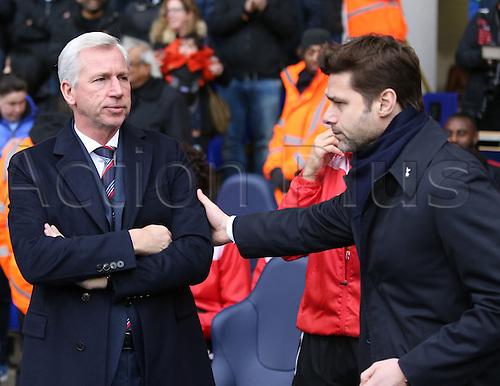 21.02.2016. White Hart Lane, London, England. Emirates FA Cup 5th Round. Tottenham Hotspur versus Crystal Palace. Alan Pardew and Mauricio Pochettino