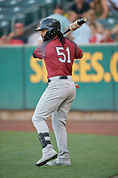 Henry Ramos (51) of the Sacramento River Cats on deck against the Salt Lake Bees at Smith's Ballpark on July 18, 2019 in Salt Lake City, Utah. The Bees defeated the River Cats 9-6. (Stephen Smith/Four Seam Images)