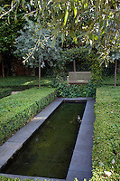The simple, elongated shape of the pool is echoed by the box hedging surrounding it