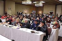 Mushers listen during the mandatory musher meeting at the Millenium hotel two days prior to the start of Iditarod 2013...Photo (C) Jeff Schultz/IditarodPhotos.com  Do not reproduce without permission.