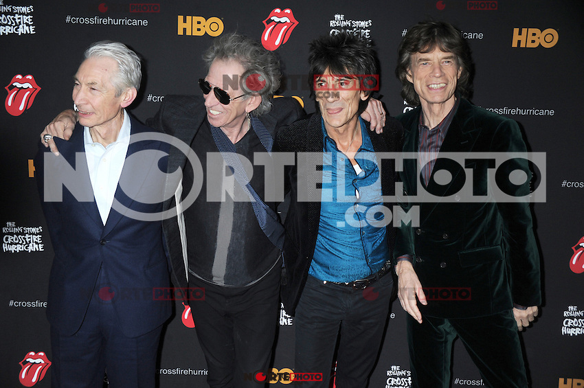 NEW YORK, NY - NOVEMBER 13: Charlie Watts, Keith Richards, Ronnie Wood and Mick Jagger of The Rolling Stones at 'The Rolling Stones Crossfire Hurricane' Premiere at Ziegfeld Theater on November 13, 2012 in New York City. Credit mpi01/MediaPunch Inc. /NortePhoto/nortephoto@gmail.com