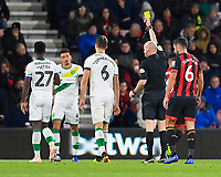 Referee Lee Mason  gives a yellow card to Christoph Zimmermann of Norwich City during AFC Bournemouth vs Norwich City, Caraboa Cup Football at the Vitality Stadium on 30th October 2018