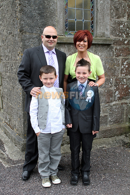 Aaron Goring and Family at the 2011 Donore NS First Holy Communion...(Photo credit should read Jenny Matthews www.newsfile.ie)....This Picture has been sent you under the conditions enclosed by:.Newsfile Ltd..The Studio,.Millmount Abbey,.Drogheda,.Co Meath..Ireland..Tel: +353(0)41-9871240.Fax: +353(0)41-9871260.GSM: +353(0)86-2500958.email: pictures@newsfile.ie.www.newsfile.ie.