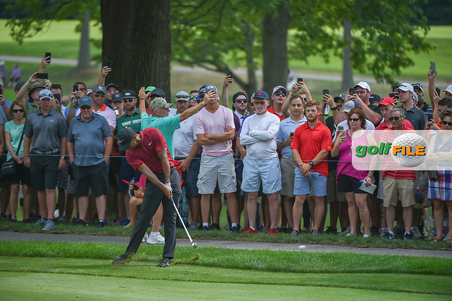 Tiger Woods (USA) hits his approach shot on 2 during 4th round of the World Golf Championships - Bridgestone Invitational, at the Firestone Country Club, Akron, Ohio. 8/5/2018.<br /> Picture: Golffile | Ken Murray<br /> <br /> <br /> All photo usage must carry mandatory copyright credit (© Golffile | Ken Murray)