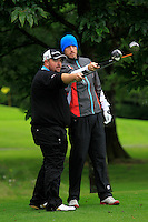 Shane Hogan (Nenagh) and Eoin O'Connor (Elm Park) on the 3rd tee during round 1 of The Mullingar Scratch Cup in Mullingar Golf Club on Sunday 3rd August 2014.<br /> Picture:  Thos Caffrey / www.golffile.ie
