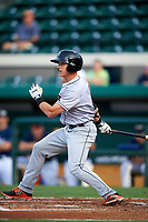 Jupiter Hammerheads center fielder Kyle Barrett (4) follows through on a swing during a game against the Lakeland Flying Tigers on April 17, 2017 at Joker Marchant Stadium in Lakeland, Florida.  Lakeland defeated Jupiter 5-1.  (Mike Janes/Four Seam Images)