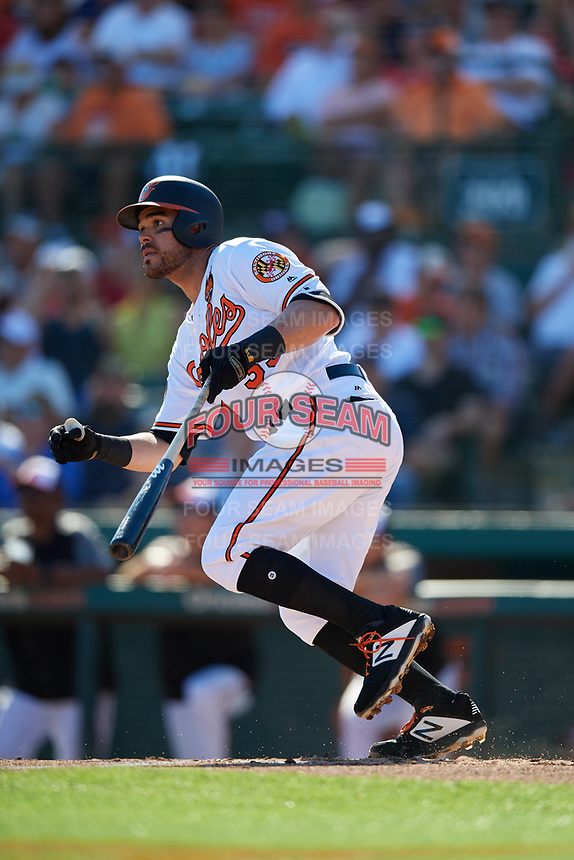 Baltimore Orioles third baseman Renato Nunez (39) follows through on a swing during a Grapefruit League Spring Training game against the Detroit Tigers on March 3, 2019 at Ed Smith Stadium in Sarasota, Florida.  Baltimore defeated Detroit 7-5.  (Mike Janes/Four Seam Images)