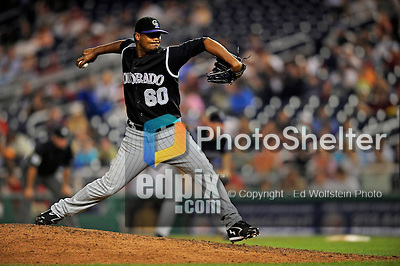 15 August 2008: Colorado Rockies' pitcher Manuel Corpas on the mound in relief against the Washington Nationals at Nationals Park in Washington, DC.  The Rockies edged out the Nationals 4-3, handing the last place Nationals their 8th consecutive loss. ..Mandatory Photo Credit: Ed Wolfstein Photo