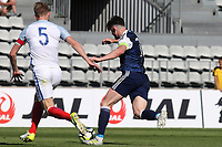 Oliver Burke of Scotland takes on England's Joe Worrall during England Under-18 vs Scotland Under-20, Toulon Tournament Semi-Final Football at Stade Parsemain on 8th June 2017