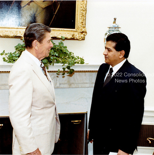 United States President Ronald Reagan accepts diplomatic credentials from Ambassador Jose Antonio Jarquin Toledo of Nicaragua in the Oval Office on Thursday, June 16, 1983..Mandatory Credit: Bill Fitz-Patrick - White House via CNP