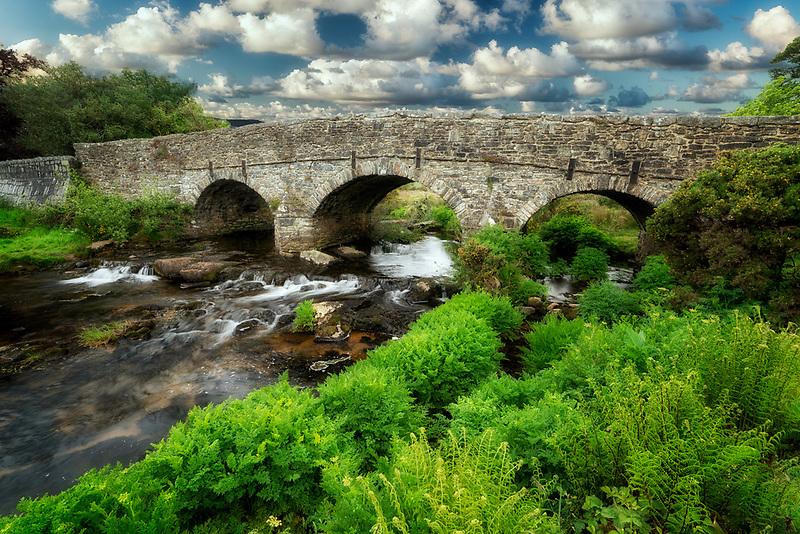 Packhorse Bridge over next to Postbridge. Dartmoor National Park, England