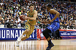 10 March 2016: Notre Dame's Steve Vasturia (32) and Duke's Matt Jones (right). The University of Notre Dame Fighting Irish played the Duke University Blue Devils at the Verizon Center in Washington, DC in the Atlantic Coast Conference Men's Basketball Tournament quarterfinal and a 2015-16 NCAA Division I Men's Basketball game. Notre Dame won the game 84-79 in overtime.