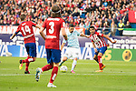 Atletico de Madrid's Gabi and Filipe Luis and Celta de Vigo's Nolito during La Liga Match at Vicente Calderon Stadium in Madrid. May 14, 2016. (ALTERPHOTOS/BorjaB.Hojas)