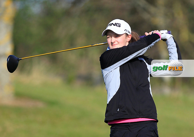 Joanne Free (SCO) on the 1st tee during Round 3 of the Irish Girl's Open Stroke Play Championship at Roganstown Golf &amp; Country Club on Sunday 17th April 2016.<br /> Picture:  Thos Caffrey / www.golffile.ie