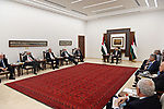 Palestinian President Mahmoud Abbas, chairs the meeting, in the West Bank city of Ramallah on July 29, 2020. Photo by Thaer Ganaim