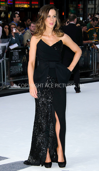 WWW.ACEPIXS.COM . . . . .  ..... . . . . US SALES ONLY . . . . .....August 16 2012, London....Kate Beckinsale at the premiere of 'Total Recall' held at Vue Leicester Square on August 16 2012 in London ....Please byline: FAMOUS-ACE PICTURES... . . . .  ....Ace Pictures, Inc:  ..Tel: (212) 243-8787..e-mail: info@acepixs.com..web: http://www.acepixs.com