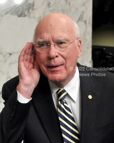 Washington, DC - July 13, 2009 -- United States Senator Patrick Leahy (Democrat of Vermont), Chairman of the U.S. Senate Judiciary Committee, strains to hear a reporter's question following the first day of testimony as the committee considers the nomination of Judge Sonia Sotomayor as Associate Justice of the U.S. Supreme Court on Monday, July 13, 2009..Credit: Ron Sachs / CNP