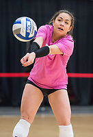 NWA Democrat-Gazette/BEN GOFF @NWABENGOFF<br /> Okiana Valle, Arkansas senior libero, makes a dig Wednesday, Nov. 7, 2018, during practice in Barnhill Arena.