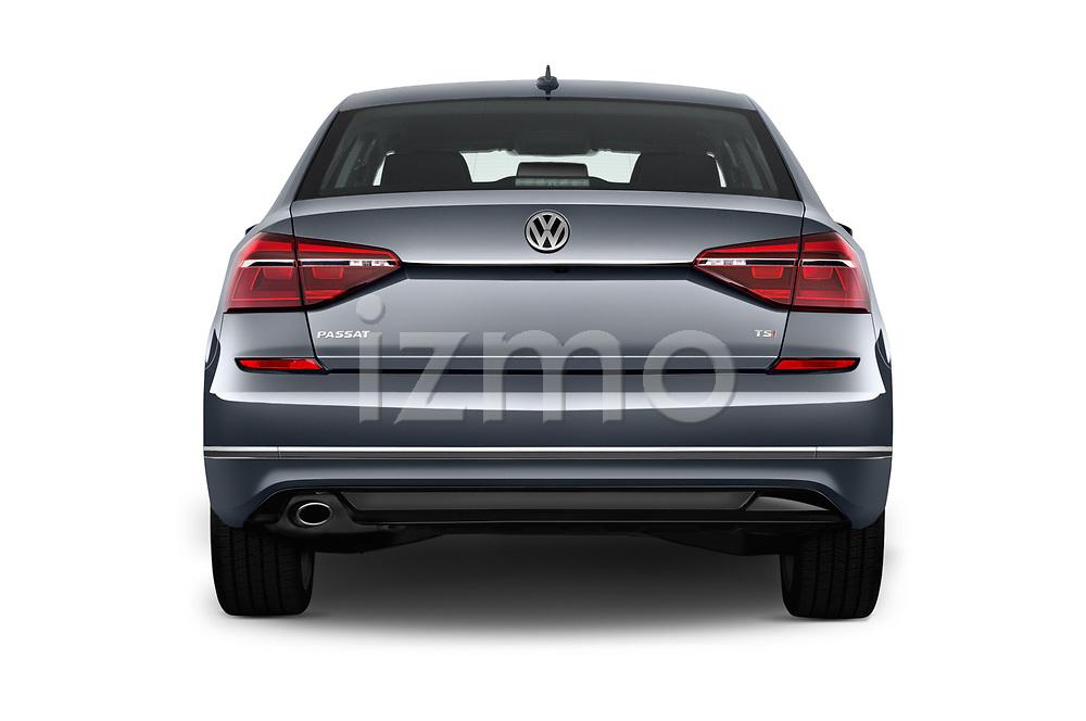 Straight rear view of 2017 Volkswagen Passat R-Line 4 Door Sedan stock images