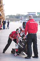 Miguel Oliveiraand his mechanics in pit line at pre season winter test IRTA Moto3 & Moto2 at Ricardo Tormo circuit in Valencia (Spain), 11-12-13 February 2014
