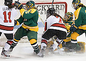Rachel Llanes (Northeastern - 11), Juana Baribeau (Clarkson - 25), Brittany Esposito (Northeastern - 7), Erica Howe (Clarkson - 27), ? - The Northeastern University Huskies defeated the visiting Clarkson University Golden Knights 5-2 on Thursday, January 5, 2012, at Matthews Arena in Boston, Massachusetts.